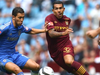 Football - Manchester City v Chelsea FA Community Shield - Villa Park - 12/13 , 12/8/12 Carlos Tevez - Manchester City in action against Eden Hazard - Chelsea Mandatory Credit: Action Images / Carl Recine